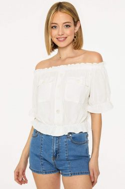 See Elastic Trimmed Off The Shoulder Top in White