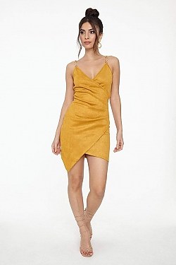 See Suede Pleated Wrap Cami Dress in Mustard
