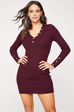 See Ribbed Knit Long Sleeve Dress with Contrast Button Detail in Wine