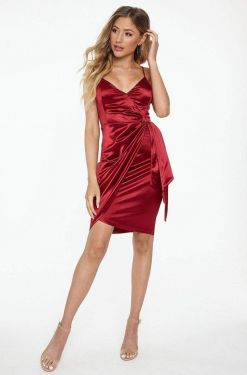 See Satin Wrap Dress With Side Sash Detail in Burgundy
