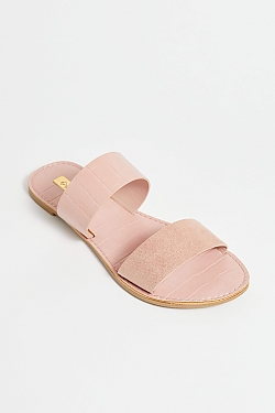 See Black Croco Two Strap Mule Slide in Blush
