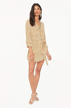 See Belted Shirt Dress in Camel