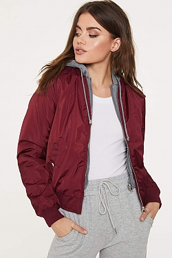 See Bomber Jacket With Built in Contrast Hoodie in Burgundy