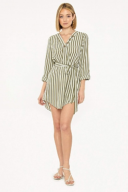See Belted Shirt Dress in Olive