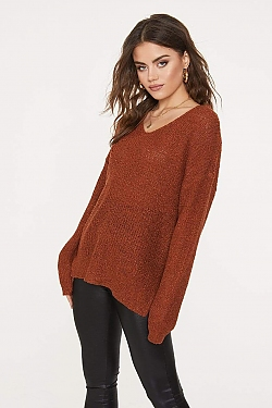 See Knit Oversized Sweater With Braided Back Detail in Rust