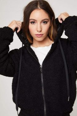 See Teddy Fleece Zip Jacket With Hood in Black
