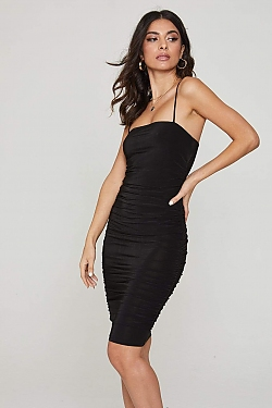 See Midi Ruched Cami Dress in Black