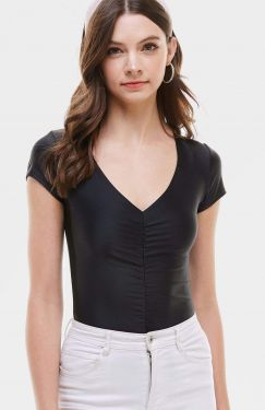 See Ruched High Sheen Bodysuit in Black