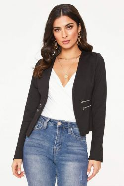 See Collarless Tailored Jacket in Black