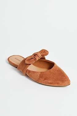 See Black Suede Pointed Toe Flat in Camel
