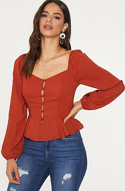 See Balloon Sleeve Button Down Peplum Blouse in Dark Rust