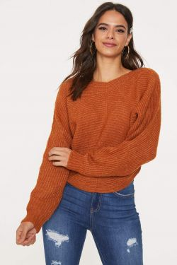 See Dolman Sleeve Knit Sweater in Cognac