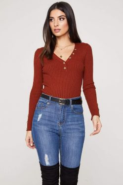 See Ribbed Knit Long Sleeve Top with Contrast Button Detail in Rust