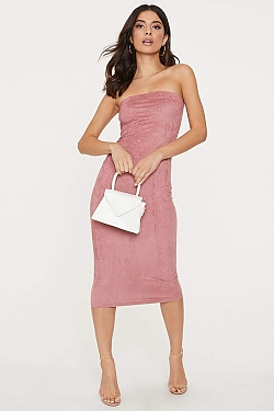 See Strapless Suede Midi Bodycon Dress in Mauve