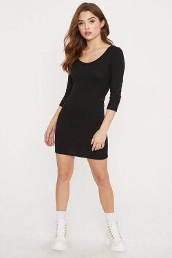 See Scoop Neck Ribbed Mini Dress in Black