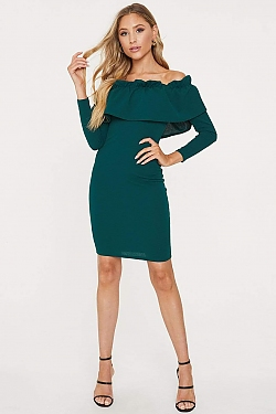 See Off-The-Shoulder Flounce Long Sleeved Dress in Spruce