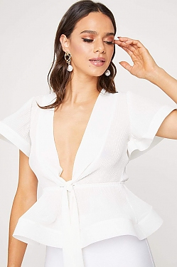 See Sheer Pleated Plunging V-Neck Structured Butterfly Blouse in White