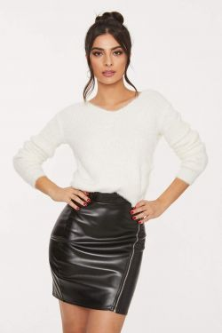 See Comfy Knit Cropped Sweater With Knot Detail in Off White