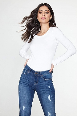 See Basic Scoop Neck Long Sleeve Top in White