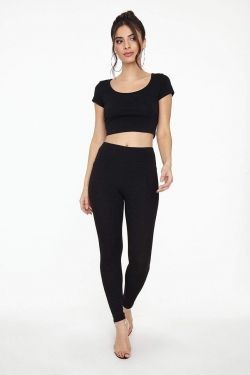 See High Waisted Ribbed Knit Legging in Black