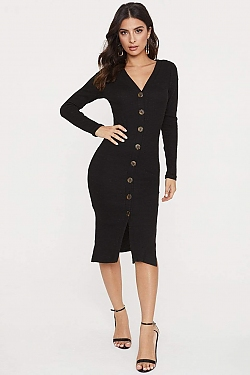 See Long Sleeve Button Down Ribbed Midi Dress in Black