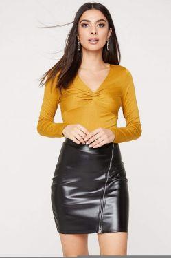 See Long Sleeve Twist Front Top in Dark Mustard
