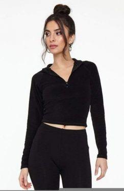 See Raglan Sleeve Half Zip Top in Black