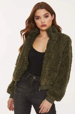 See Cozy Teddy Fleece Jacket in Olive