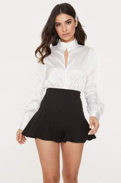See Long Sleeve Keyhole Blouse with Self Tie Sash in Ivory