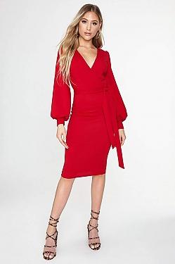 See Self Tie Surplice Midi Dress in Red