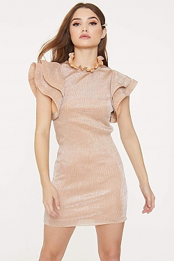 See Ruffle Detail High Neck Mini Dress in Champaign