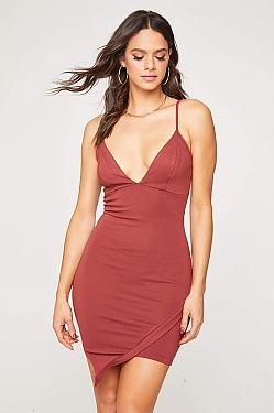 See Asymmetrical Hem Cami Dress in Rust