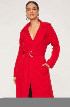See O-Ring Belted Trench Coat in Red