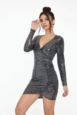 See Disco Long Sleeve Gathered Side Mini Dress in Silver