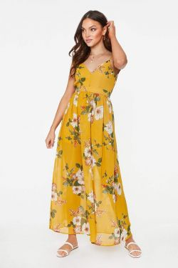 See Floral Backless Maxi Dress in Mustard