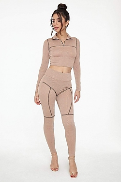See Active Set with Topstitching Detail in Taupe