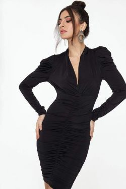See Ruched Long Sleeve Plunging Neck Midi Dress in Black