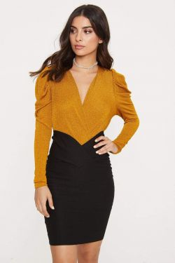 See Long Sleeve Sparkle Surplice Bodysuit in Mustard
