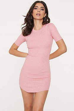 See Ribbed Knit Mini T-Shirt Dress in Blush