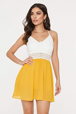 See Lace Top Crochet Waist Cami Dress in Navy in Yellow