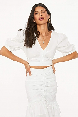 See Puff Sleeve Pleated Front Cropped Blouse in White