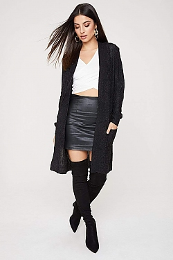 See Open Front Pocketed Long Sleeve Cardigan in Black/Charcoal