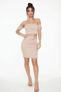 See Belted Metal Buckle Detail Skirt in Nude