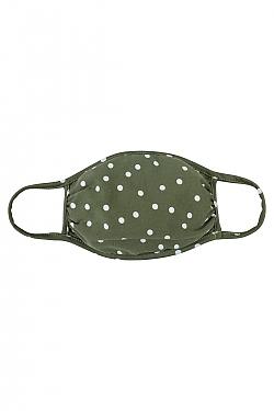 See Black and White Polka Dot Fabric Protective Mask in Green and White Polka Dot Fabric