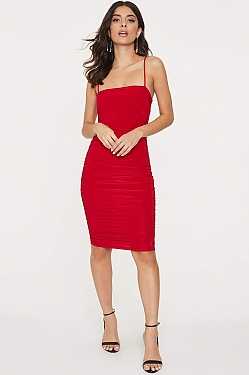 See Midi Ruched Cami Dress in Red