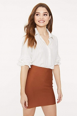 See Gold Striped Shirt With Ruffle Trim Sleeve in Off White