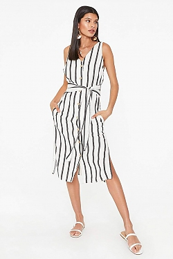 See Striped Linen Midi Dress in White