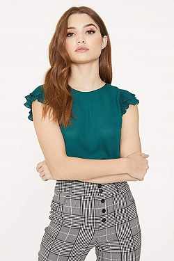 See Pleated Ruffle Small Sleeve Blouse in Hunter Green