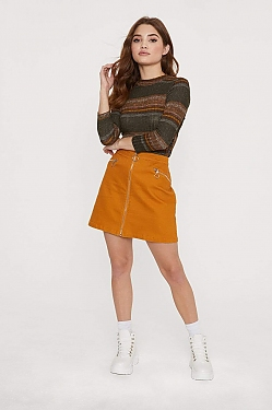 See Zip Off Mini Skirt in Camel