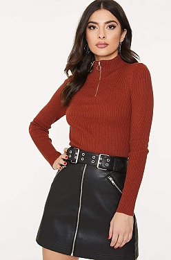 See O-Ring Half Zip Ribbed Knit Long Sleeve Top in Rust